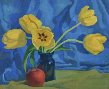 Ken Symonds Original Oil Painting Still Life Yellow Tulips Flowers